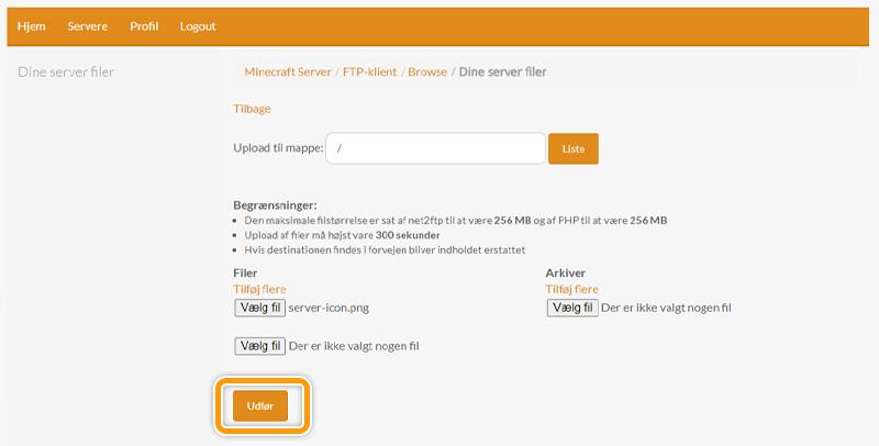 Gennemfør upload af server-icon til din server hos FlowServers