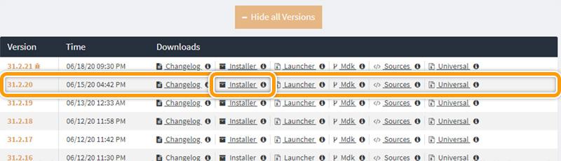 Download bestemt forge-version