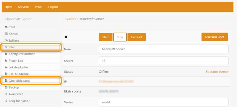 Find one-click panelet på din Minecraft server hos FlowServers